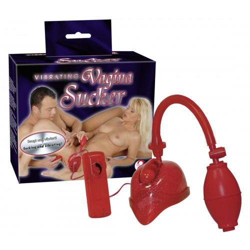 Vibračná pumpa na vagínu - červená, trblietavá