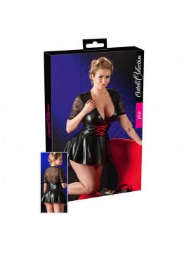 Cottelli Mini Dress - mini šaty s čipkou, čierne XL