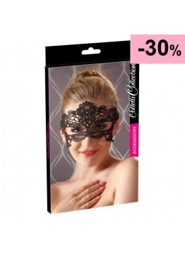 Cottelli - Vyšívaná maska na oči s efektom čipky (čierna)