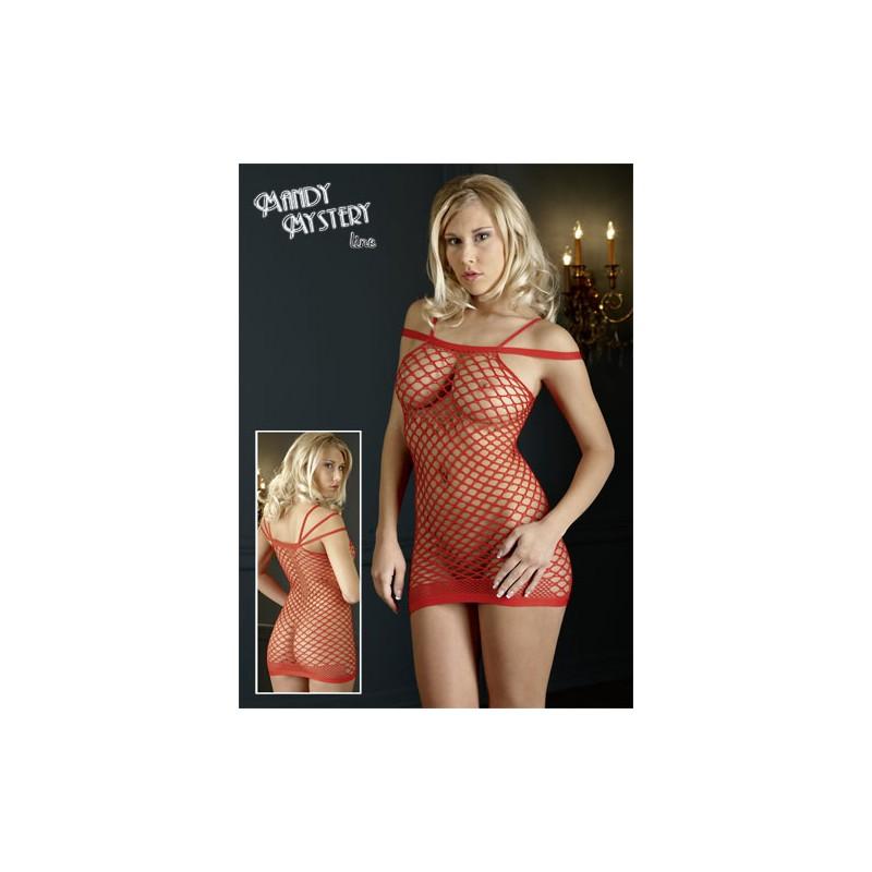 Sieťované erotické minišaty - červené