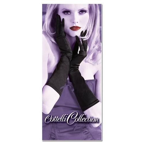 Čierne saténové rukavice - polodlhé