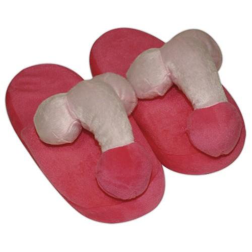 Plyšové ružové papuče - v tvare penisu
