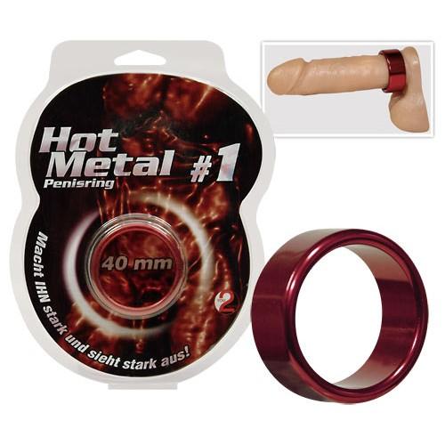Hliníkový krúžok na penis - metalicky červený