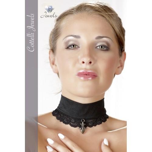 Cottelli - ozdoba na krk s čipkovým okrajom (čierna)