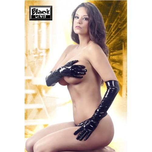 Lakové rukavice - čierne, dlhé