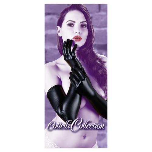 Dlhé, lesklé rukavice - čierne